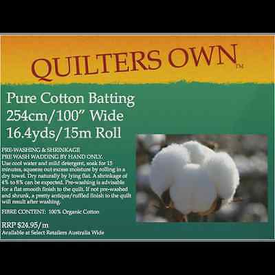 $11.99M - Quilter's Own 100% Cotton Batting Wadding Roll 15M x 2.54M Wide