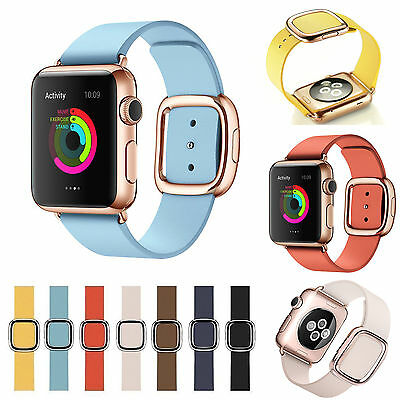 Modern Buckle Strap Magnetic Genuine Leather Wrist Band for Apple Watch 4 / 3 /2