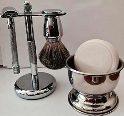 Shaving Gift Set ,Double Edge Safety Razor, Brush & Stand