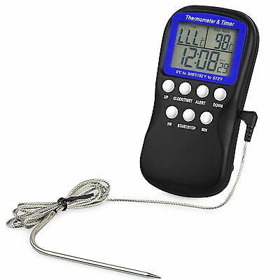 Digital Food Oven Probe Kitchen Thermometer Timer Cooking Clock temperature UK