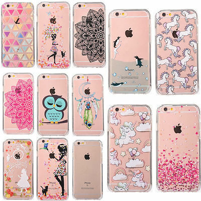 3D thin Pattern Clear Acrylic Hard Back Case Cover For Apple iPhone 8 6s 7 Plus