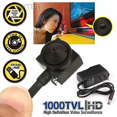 NEW Micro Mini Hidden 1000TVL Color Audio Spy CCTV Camera with 5V Power Supply