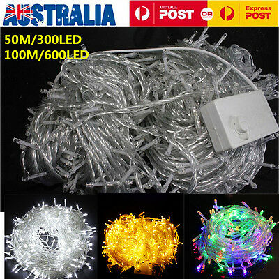 Waterproof 300/600 LED Fairy String Lights Lighting Christmas Tree Xmas Party