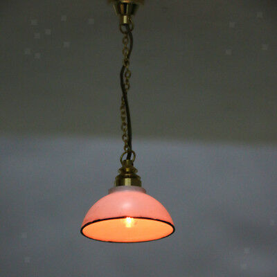 Dollhouse Miniature Hanging Ceiling Lamp CHANDELIER Light 12V White Shade