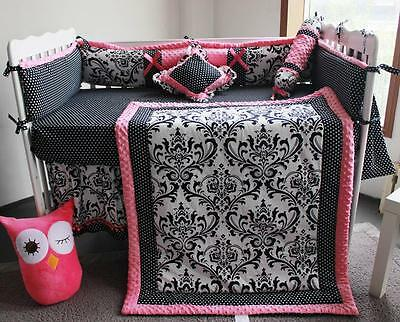 New High Quality 5 Piece Baby Bedding Crib Cot Set Pink and Black Pattern