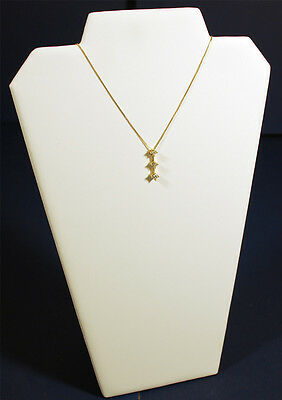 """13"""" White Leather Pendant Chain Necklace Jewelry Display Counter-Top Stand"""