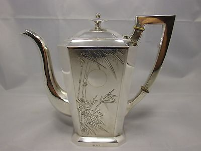 Antique chinese export silver coffee or teapot hallmarked