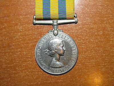 British Queen's Korea Medal 1950-1953 1st Type named Royal Navy nice