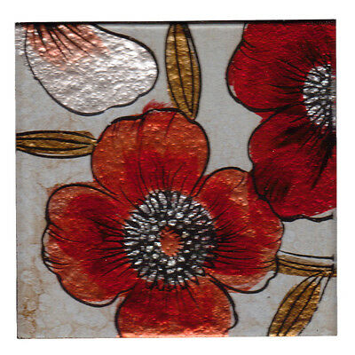 Set of 4 Square Glass Drinks Coasters - Anemone Red