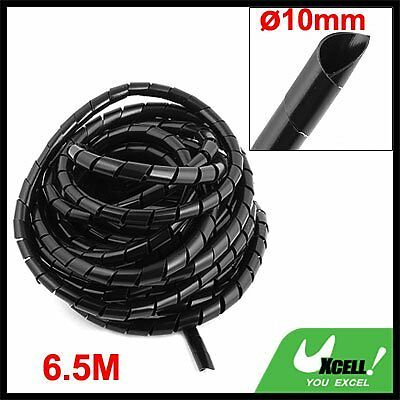 8M Long Flexible Black Polyethylene Spiral Cable Wire Wrap Tube 10mm