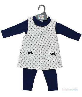 Baby Girls 3 Piece set Spotted Pinafore Dress, Navy Leggings & Top 6-24 Months