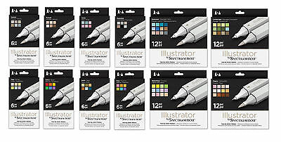 SPECTRUM NOIR ILLUSTRATOR 6/12pc Alcohol Pen Sets Crafters Companion Twin Tip