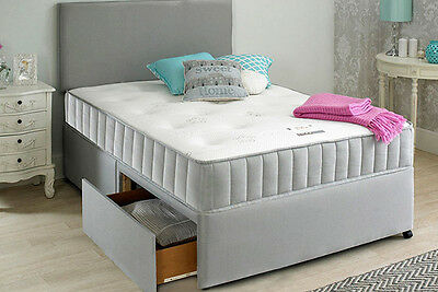 GREY DIVAN BED SET + MEMORY MATTRESS + HEADBOARD SIZE 3FT 4FT6 Double 5FT King
