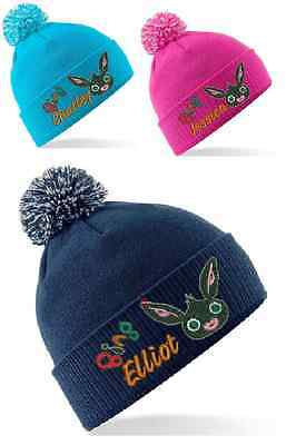 Kids Bing (Cbeebies) Winter Bobble Hat Personalised Embroidered With Any Name!