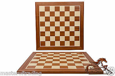 CLEAN No 5 PRO WOODEN TOURNAMENT CHESS BOARD (5cm sq) 48x48cm MAHOGANY/SYCAMORE!