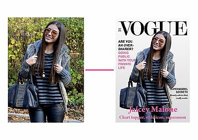 Personalised 4 SIZES Poster Print Printing - Your Photo Image on Vogue cover