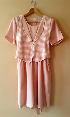 90s vintage pink gingham playsuit 14 16 party festival jumpsuit
