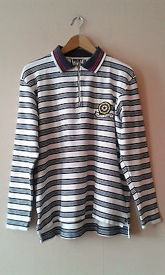 "90s vintage DKNY white and blue stripey top polo shirt M 42"" wavey hipster"