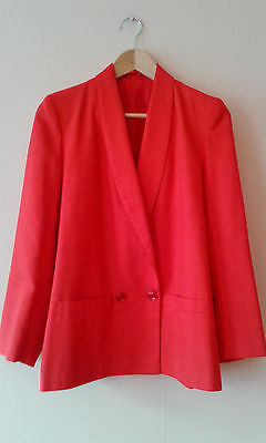 Red 1980s vintage blazer jacket double breasted size 12 new wave