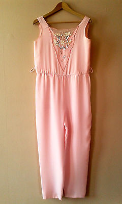 70s 80s vintage pink sequinned jumpsuit 10 12 disco party