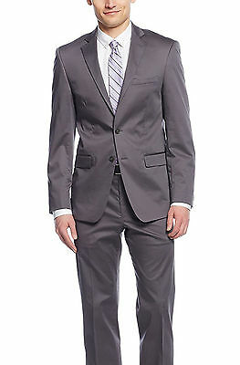 Calvin Klein X Extreme Slim Solid Gray Two Button Cotton Stretch Blend Suit