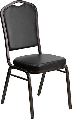 Lot of 4 Crown Back Black Vinyl Gold Vein Frame Poker Table Stack Chairs