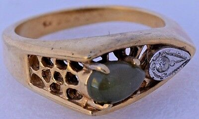 """H G F"" Signed Yellow Gold Filled Modernist Green Jade & Iridescent CZ 18k Ring"