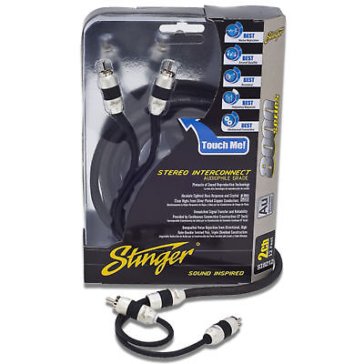 Stinger Si8217 8000 Series 2 Channel Car Rca Interconnect Cable 17' Stereo Audio