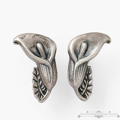 Antique Vintage Deco Sterling Silver Womens Estate Repousse Calla Lilly Earrings