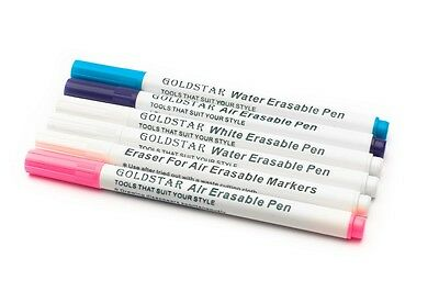 Air/Water Erasable & disappearing Fabric,textile,grommet ink markers, pack of 6
