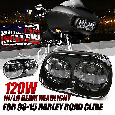 1 Pc For 03-13 Harley Davidson Road Glide Dual Cree Led Pro Headlights Black Usa