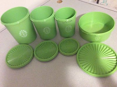 4 pc Lime Green Tupperware Vintage Servalier Canisters Apple 1204-8 807-7