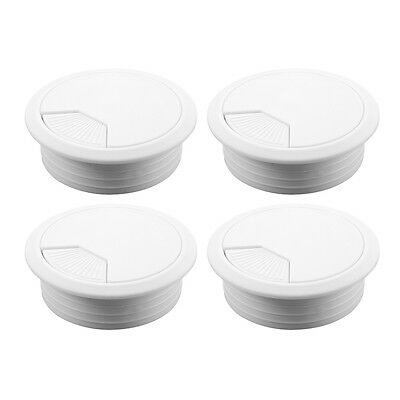 4x 60mm Computer Grommet for Desk Table Cable Tidy Outlet Wire Cover White HS473