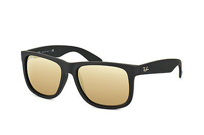 455465e36b8 RAY-BAN JUSTIN 55 Color Mix WAYFARER Black Rubber Gold Sunglasses RB 4165  622