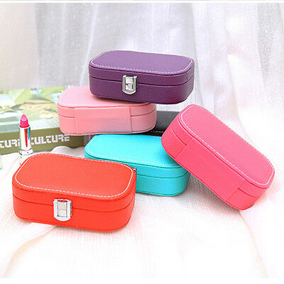 Jewelry Box Organizer Mirror Ring Necklace Earring Leather Storage Case ZX