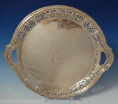 J. E. Caldwell Sterling Silver Tray Round Pierced with Scrollwork Border #1059
