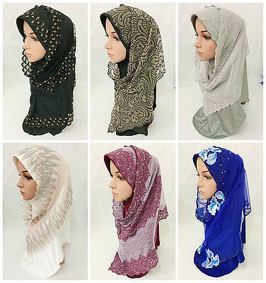 Pull On Ready Made Two Piece Diamonte Jersey Hijab Stretch Scarf 8 Colours