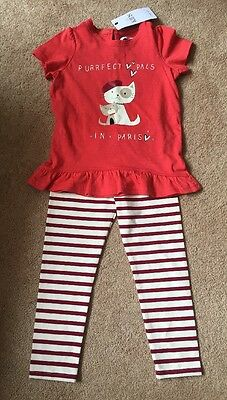 Marks & Spencer's M&S Kids Purrfect Pals T.Shirt & Leggings Set 2 To 3 Years New