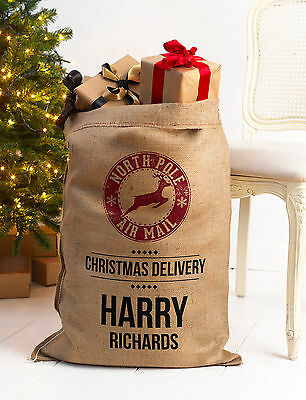 PERSONALISED CHRISTMAS SANTA SACK XL EXTRA LARGE HESSIAN TRADITIONAL STOCKING v4