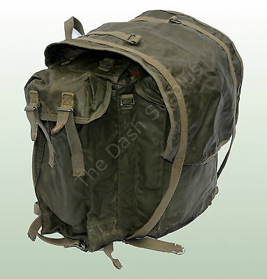 French Army Backpack Daysack Side Pockets Rucksack Rubberised Waterproof Bag