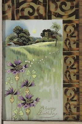 """ANTIQUE 1910's BIRTHDAY POSTCARD """"Meadow Scenery"""" Posted"""