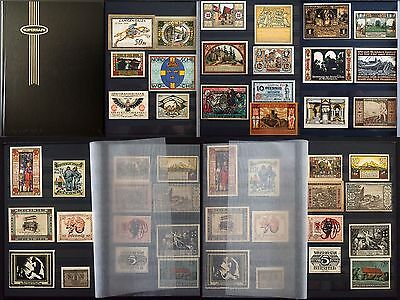 HARDCOVER NOTGELD TREASURY ALBUM LOT of 100 BEAUTIFUL ANTIQUE GERMAN BANKNOTES!