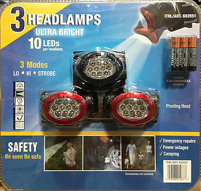 3 Pack 10 Ultra Bright LED Head Lamp Torch Light Camping Cycling Headlamps