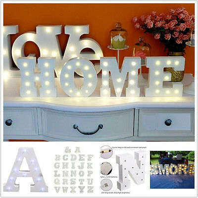 WARM Light Up Letter Wooden Alphabet A-Z Gift Boxed Name Wedding FAST DELIVERY