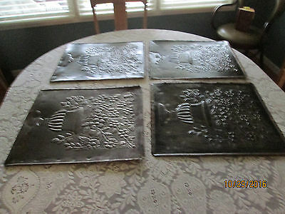 4 Vintage Floral Decorative  Pieces Of Tin Ceiling Art