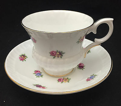 Crown Staffordshire Scattered Floral Clusters Teacup with saucer - English China