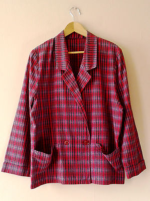 80s vintage plaid tartan cotton sports jacket 18 New Wave double breasted