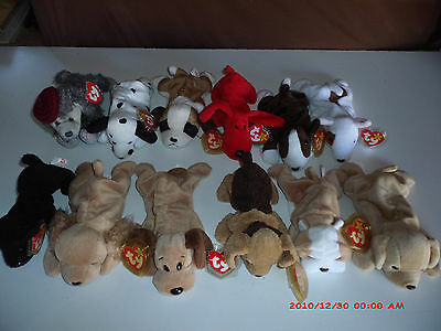 12 NEW Different DOG / PUPPY Ty Beanie Babies