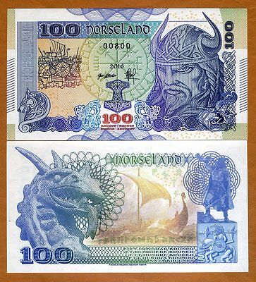 Norseland, 100 Kronur 2016, Private Issue, Essay / Specimen UNC > Viking, Dragon