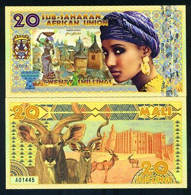 Sub-Saharan African Union, 20 Shillings, 2019, Private Issue Polymer - Woman